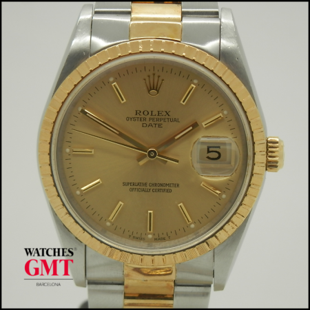 ROLEX DATE 34 STEEL AND GOLD